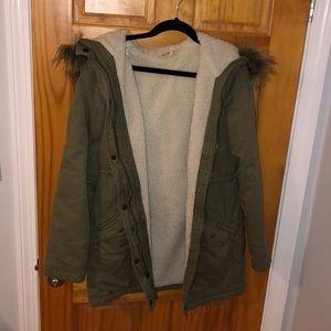 Green parka coat